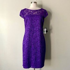 NWT Nine West Purple Lace Sparkly Shift Dress